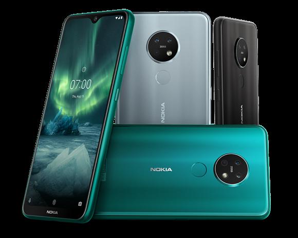 Nokia 7.2 eri värivaihtoeehtoina.