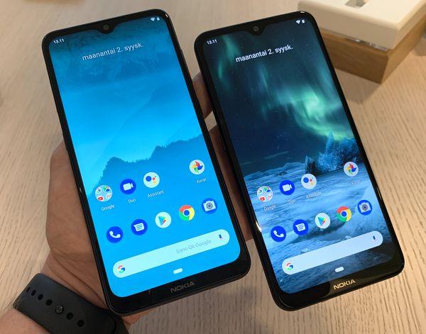 Nokia 6.2 ja Nokia 7.2 ovat etupuolelta identtisiä.