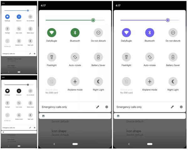 Android 10:ssä on mahdollista muuttaa korostusväriä. Kuva: 9to5Google.