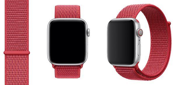 Aiempi punainen PRODUCT(RED) Sport Loop -ranneke Apple Watchille.