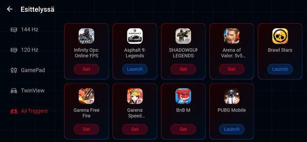 Armoury Crate sisältää myös suosituksia peleistä Esittelyssä-osiossa.