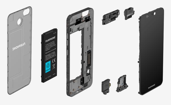 Fairphone 3:n modulaarinen rakenne helpottaa osien vaihtamista uusiin.