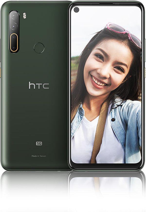 HTC U20 5G:ssä on takana neljä kameraa. Etukamera sijaitsee näytön reiässä.