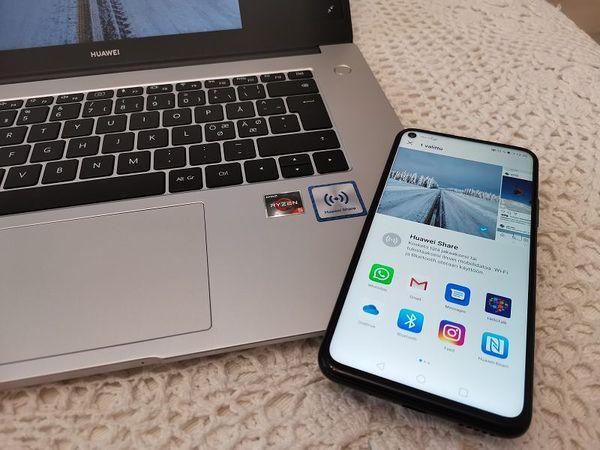 Huawei Share on läsnä myös MateBook D 15″:ssä.