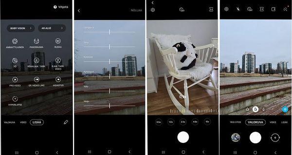 Kameran käyttöliittymä on tuttu muistakin Galaxy-malleista.