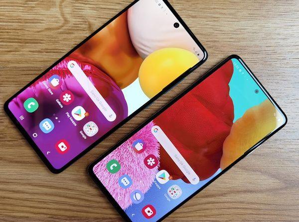 Hieman kookkaampi Samsung Galaxy A71, kuvassa vasemmalla, on eräs vaihtoehto Galaxy A51:lle.
