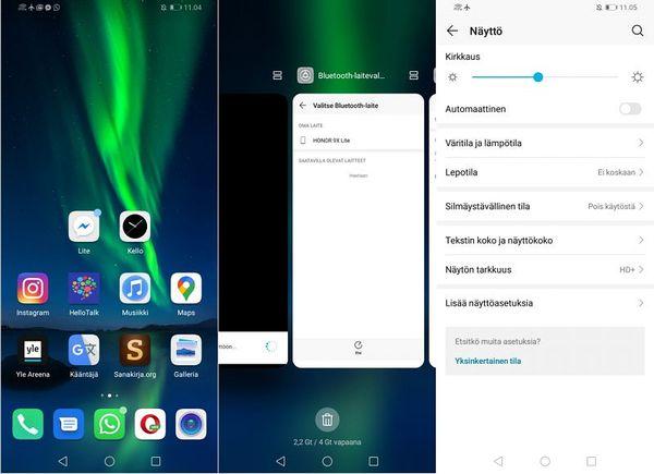 Android 9 Pie -ohjelmistoon perustuva EMUI 9 on viime vuosien Honor-malleista tuttu.