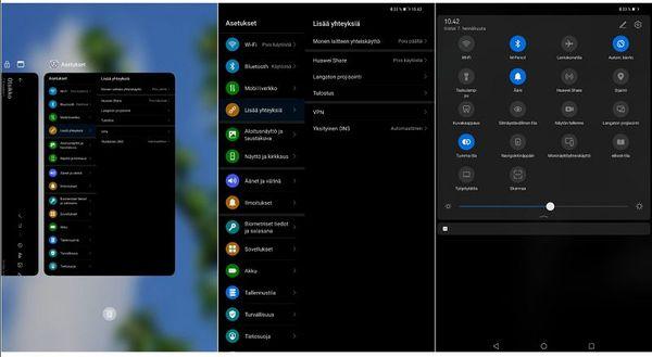 EMUI 10.1 on tuttu Huawei-älypuhelimilta. Kuvakaappauksia käyttöliittymästä.