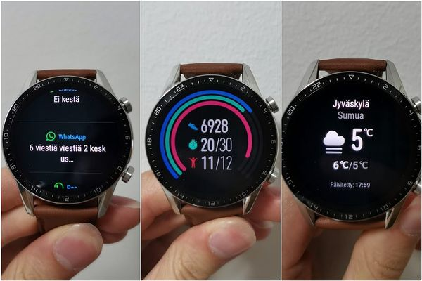Kello on helppokäyttöinen. Kuvassa ilmoitusnäkymä, aktiviteettien yhteenveto ja sääennuste.