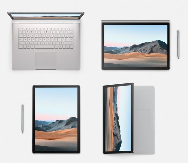 Eri Surface Book 3:n käyttötapoja. Kynä myydään tavallisesti erikseen mutta se on tarjolla kaupanpäällisenä ennakkotilaajille.