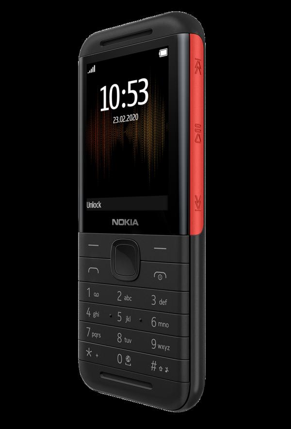 Musiikkitoiston ohjauspainikkeet Nokia 5310:n oikealla kyljellä.