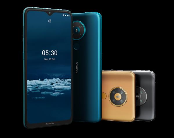 Nokia 5.3:n värivaihtoehdot Suomessa ovat syaaninsininen ja musta.