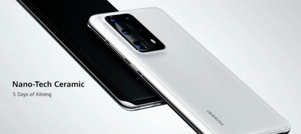 P40 Pro+ on takaa keraamipintainen. Värivaihtoehdot ovat musta Ceramic Black ja valkoinen Ceramic White.