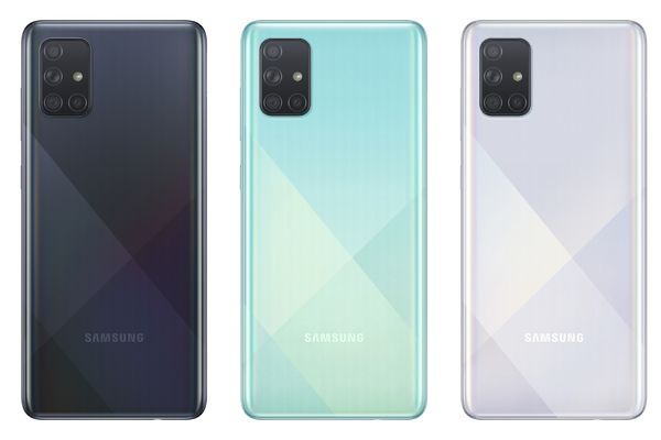 Samsung Galaxy A71:n värivaihtoehdot.