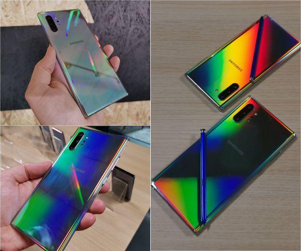 Galaxy Note10:n Aura Glow -värivaihtoehto näyttää erilaiselta, kun valo ja eri värit osuvat siihen eri kulmista.