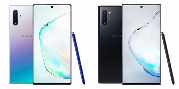 Samsung Galaxy Note10+ Aura Black ja Aura Glow.