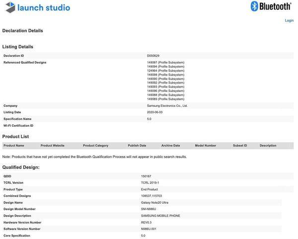Samsung Galaxy Note20 Ultra Bluetooth-laitetietokannassa.
