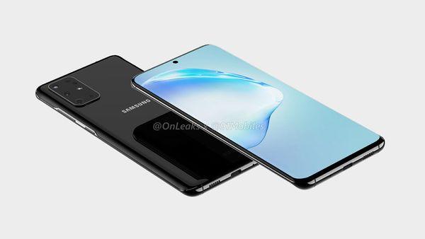 Samsung Galaxy S20+:n mallinnos. Kuva: OnLeaks / 91mobiles.
