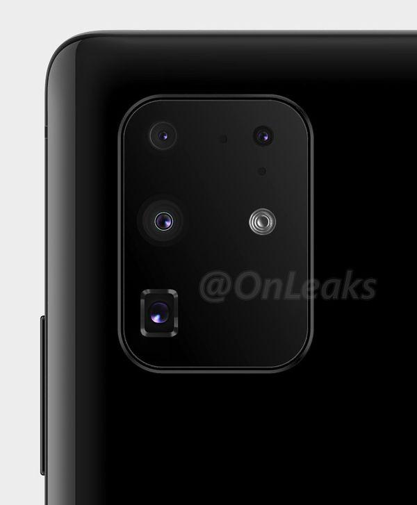OnLeaksin julkaisema uusi mallinnos Samsungin Galaxy S -sarjan tulevan huippumallin takakamera-alueesta.