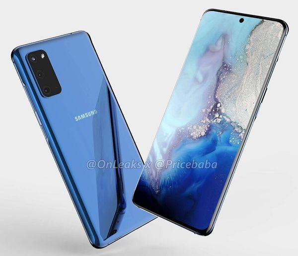 Samsung Galaxy S11e:n / S20:n mallinnos. Kuva: OnLeaks / Pricebaba.