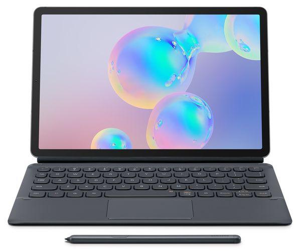 Galaxy Tab S6 yhdessä erikseen myytävän Book Cover Keyboard -näppäimistön kanssa.