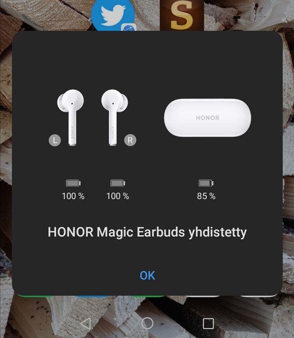 Huawein ja Honorin puhelimet ilmoittavat kuulokkeista ponnahdusikkunalla.