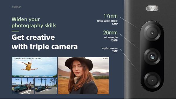 Sonyn Xperia L4:ssä on kolme takakameraa.