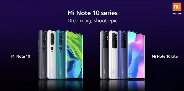 Mi Note 10 Lite aiemman kalliimman Mi Note 10 -sisarmallinsa rinnalla.