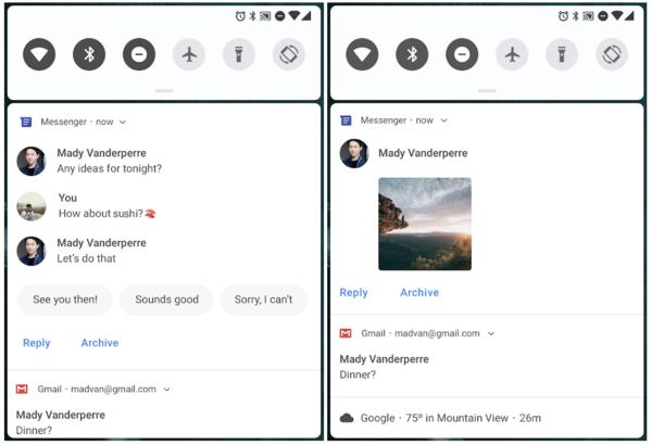 Ilmoitukset monipuolistuvat jälleen uusin tavoin Android Piessa.