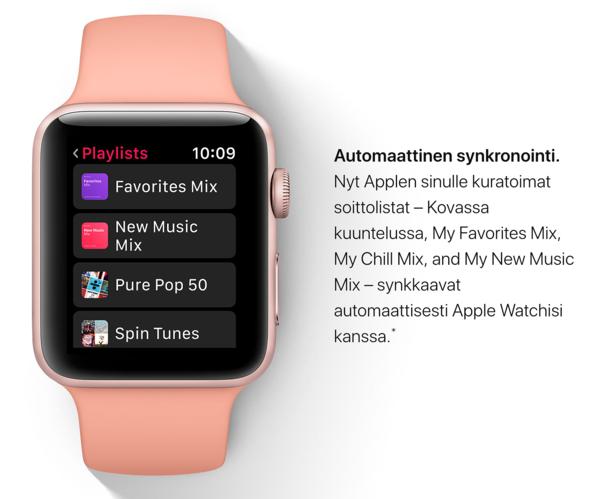 Apple Music synkronoi jatkossa automaattisesti kelloon soittolistoja.