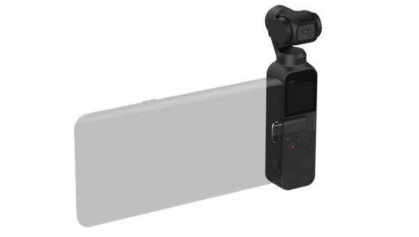 Älypuhelimen voi liittää Osmo Pocketiin kiinni.