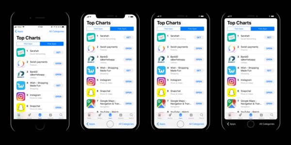 Max Rudbergin hahmotelmat erilaisista käyttöliittymän muutosvaihtoehdoista huomioiden uuden iPhonen koko etupuolen näyttö ja virtuaalinen kotipainike.
