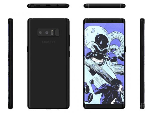 Galaxy Note8 eri suunnista.