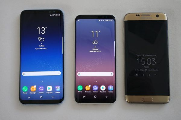 Vasemmalta oikealle: Samsung Galaxy S8+, Galaxy S8 ja Galaxy S7 edge.