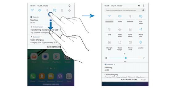 Galaxy S6:n käyttöliittymään tulee muutoksia Nougat-päivityksessä.