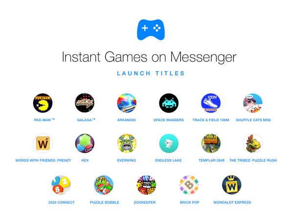 Kuvassa viime vuonna esitellyn Facebook Messenger Instant Gamesin julkaisunimikkeitä. Viimeisenä listaan on lisätty Tetris, joka on Messengerin kautta myös suomalaisten pelattavissa.