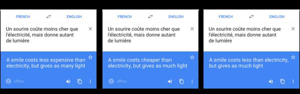 Eri tekniikkaa hyödyntävät käännökset vertailussa.
