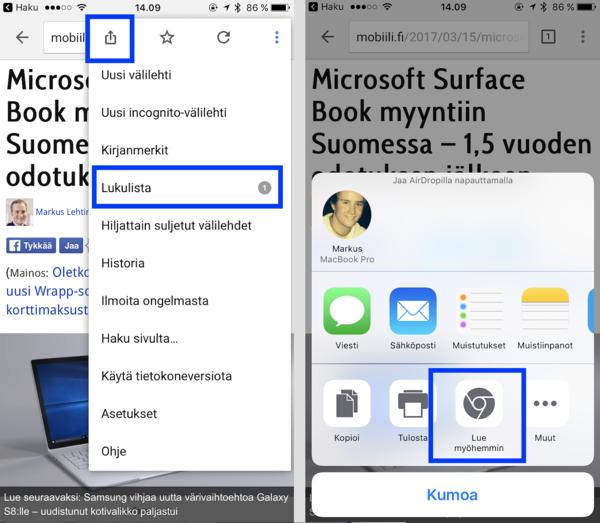 Google Chromella voi nyt myös iPhonessa lisätä sivuja lukulistalle. Se käy valikosta jakokuvaketta painamalla ja valitsemalla tämän jälkeen sivun luettavaksi myöhemmin.