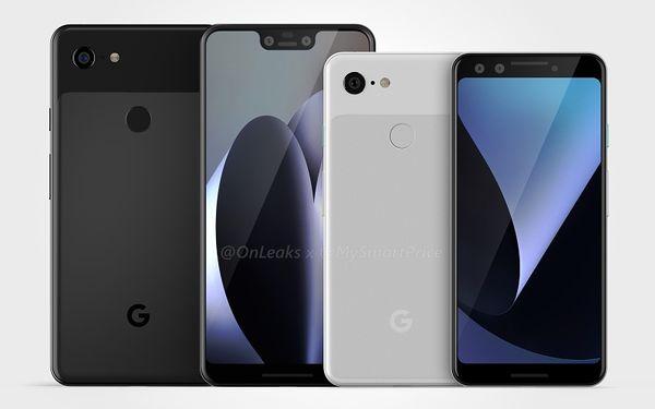 Google Pixel 3 XL ja Pixel 3, OnLeaksin yhdessä MySmartPrice-sivuston kanssa julkaisema kuva.