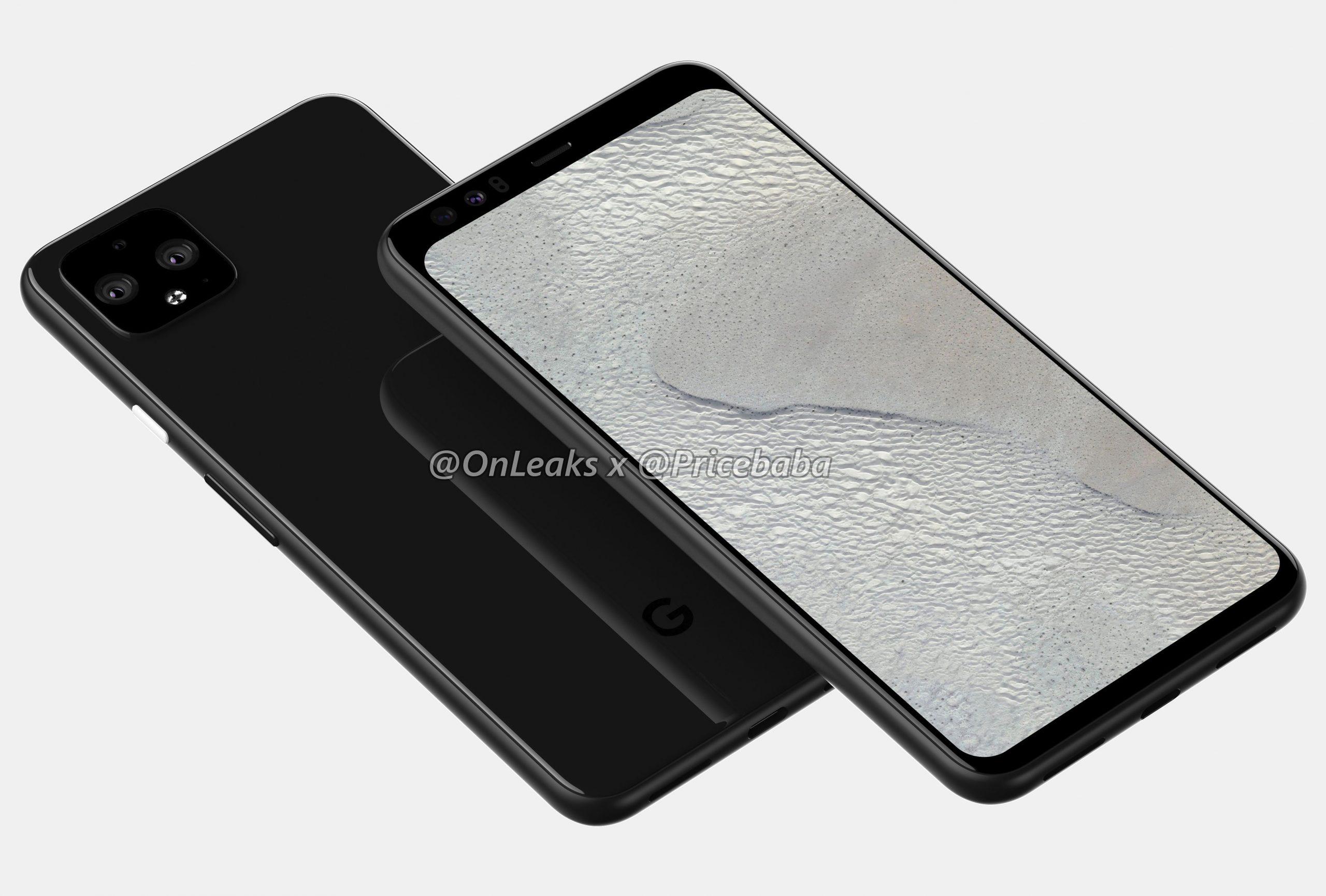 Google Pixel 4 XL. OnLeaksin yhdessä PriceBaban julkaisema mallinnos.