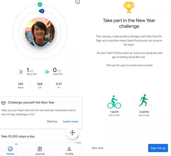 Google Fitin kuukausittaiset haasteet.