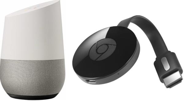 Google Home -älykaiutin ja Chromecast.