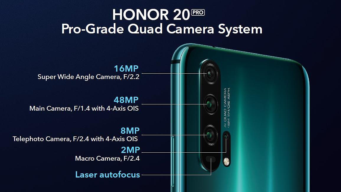 Honor 20 Prossa on neljä takakameraa.