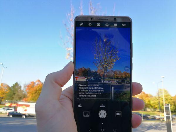 Mate 10 Pron kamera osaa tekoälyn avulla tunnistaa kuvaustilanteet. Tunnistus toimii nopeasti ja myös melko varmasti.