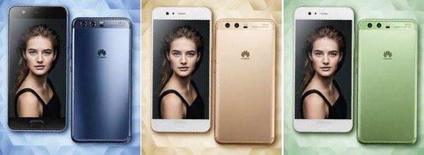 Huawei P10 eri väreissä.