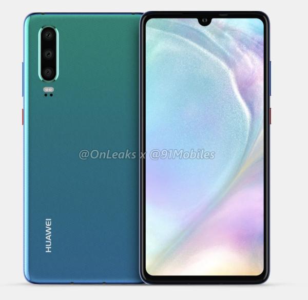 Huawei P30 -mallinnos. OnLeaksin yhdessä 91Mobiles-sivuston kanssa julkaisema kuva.