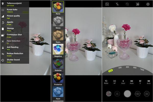 Kameran käyttöliittymä on osin käännetty, osin ei. Manuaalitila on kattava ja toimiva.