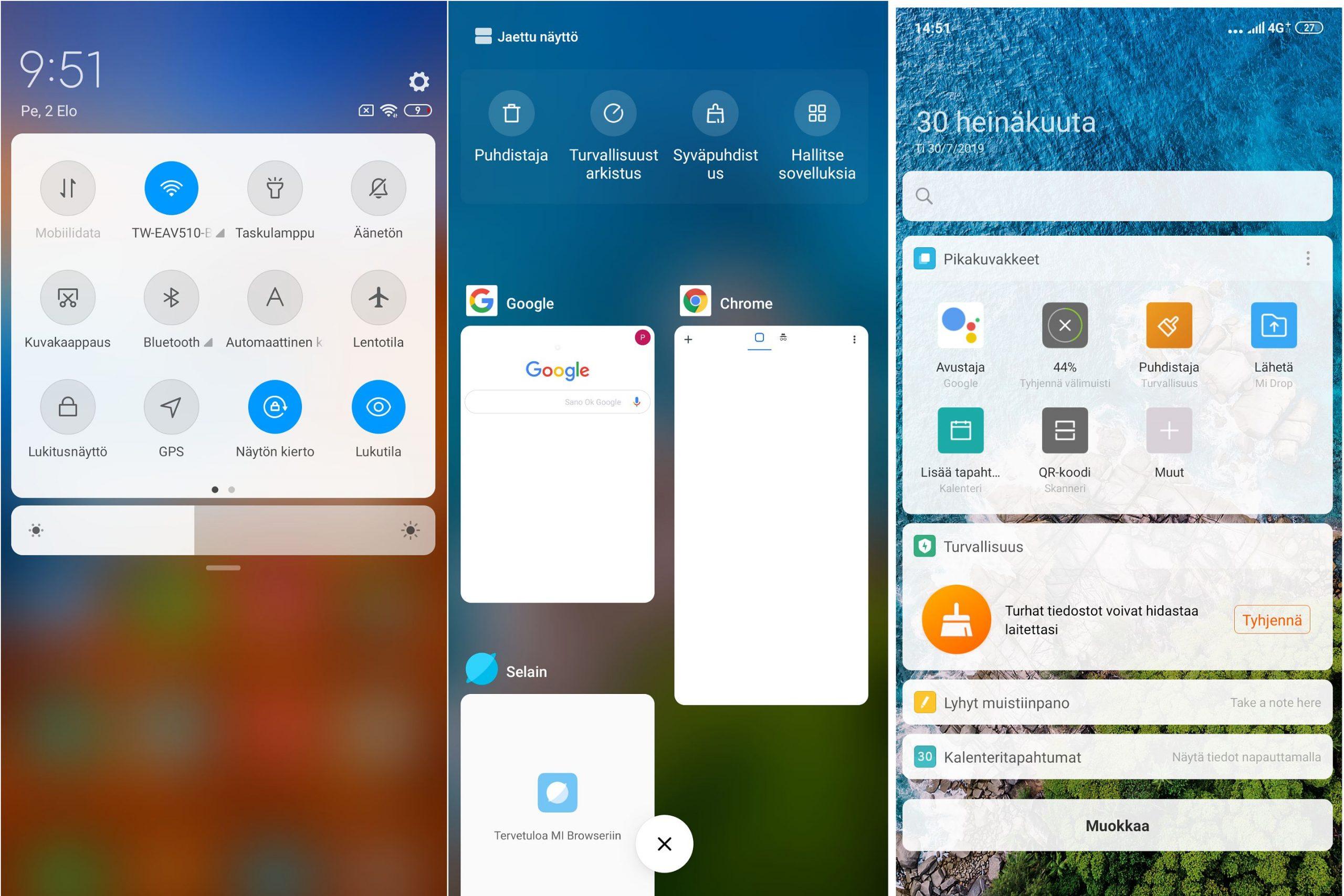 Käyttöliittymä on tuttu aiemmista Xiaomi-puhelimista. MIUI 10 on sujuva kokemus.