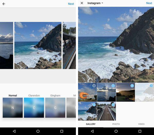 Instagram-julkaisuun voi lisätä monta kuvaa.