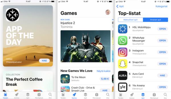 App Storen ilme ja järjestely menevät uusiksi.